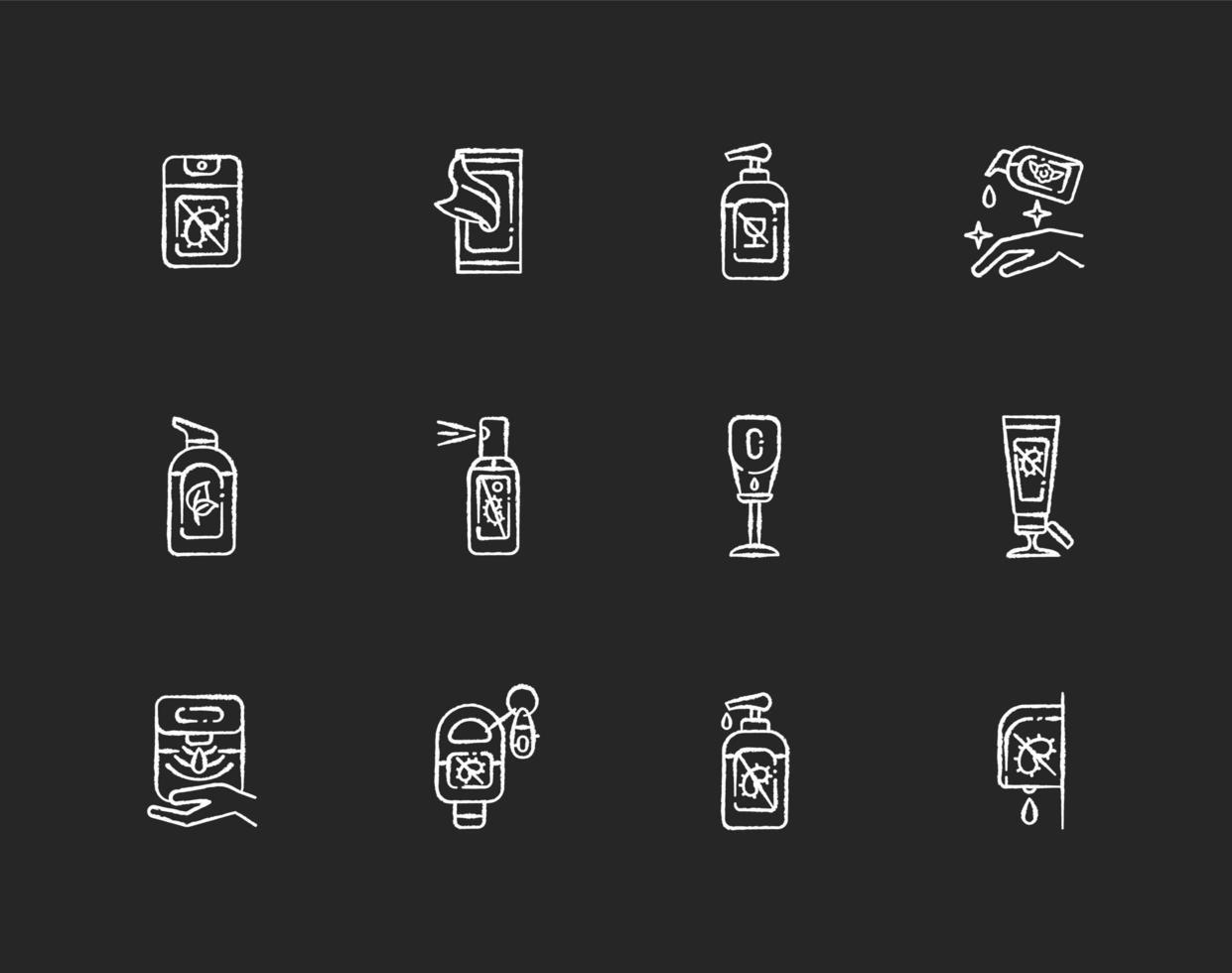 tipi di disinfettante gesso icone bianche impostate su sfondo nero vettore