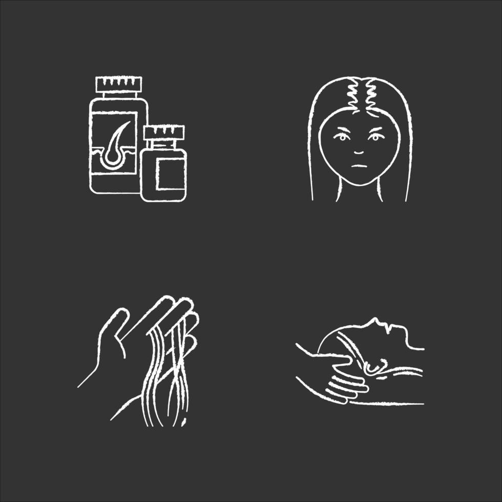 perdita di capelli gesso icone bianche impostate su sfondo nero. calvizie femminile. trattamento dell'alopecia. donna con diradamento dei capelli. fili a portata di mano. integratori vitaminici. illustrazioni di lavagna vettoriale isolato
