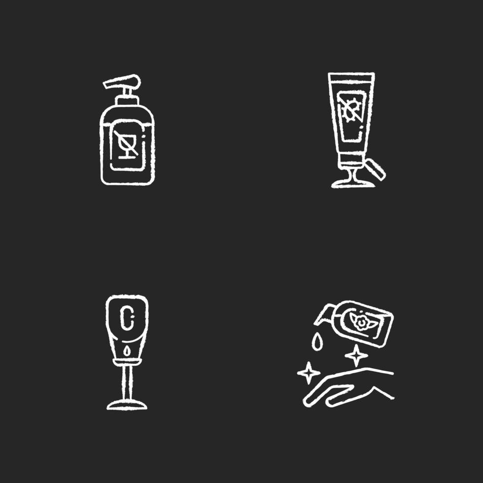 disinfettanti disinfettanti per le mani gesso icone bianche impostato su sfondo nero vettore