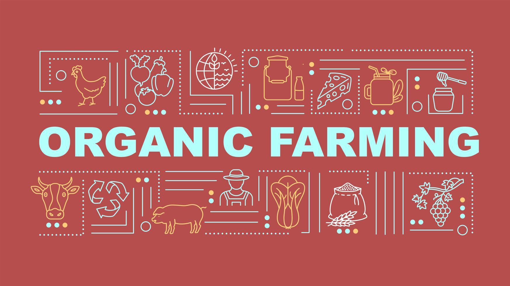 banner di concetti di parola di agricoltura biologica vettore