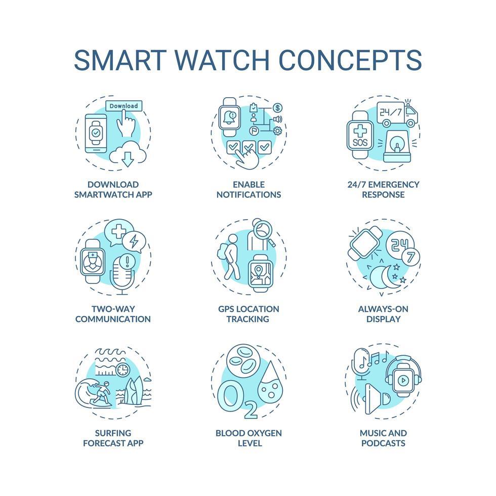 set di icone di concetto di orologio intelligente vettore