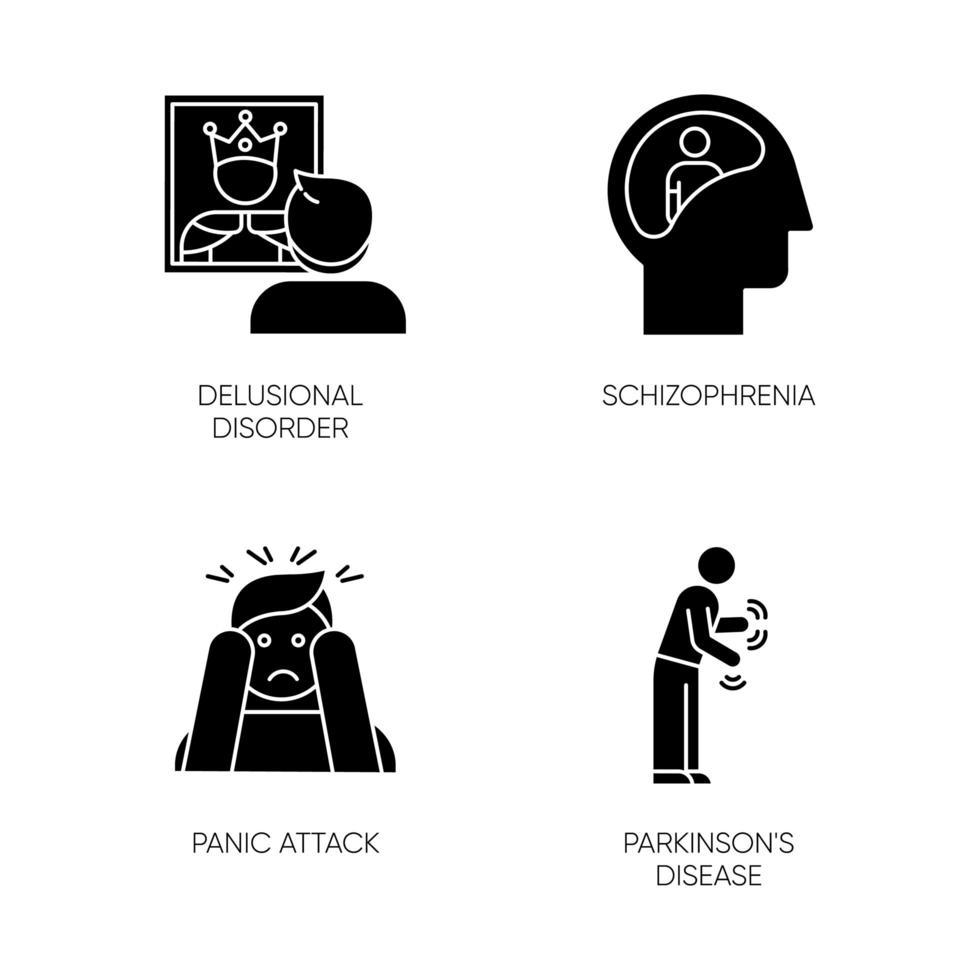 set di icone del glifo disturbo mentale. persona delirante. schizofrenia. attacco di panico. morbo di Parkinson. megalomania. demenza. tremore in movimento. simboli di sagoma. illustrazione vettoriale isolato