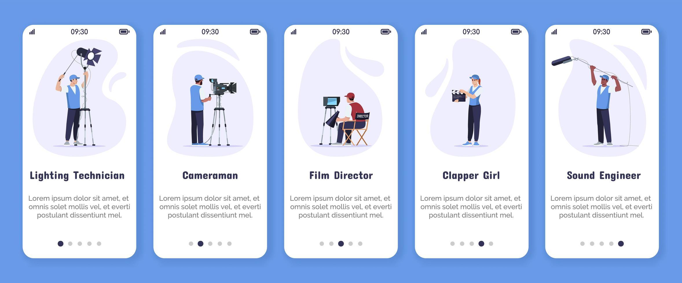 modello di vettore dello schermo dell'app mobile di onboarding per la produzione di film