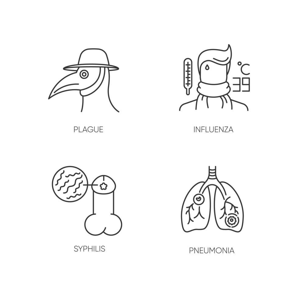 infezioni virali pixel perfette icone lineari impostate. simboli di contorno di linea sottile personalizzabili peste, influenza, sifilide e polmonite. illustrazioni di contorno vettoriale isolato. tratto modificabile