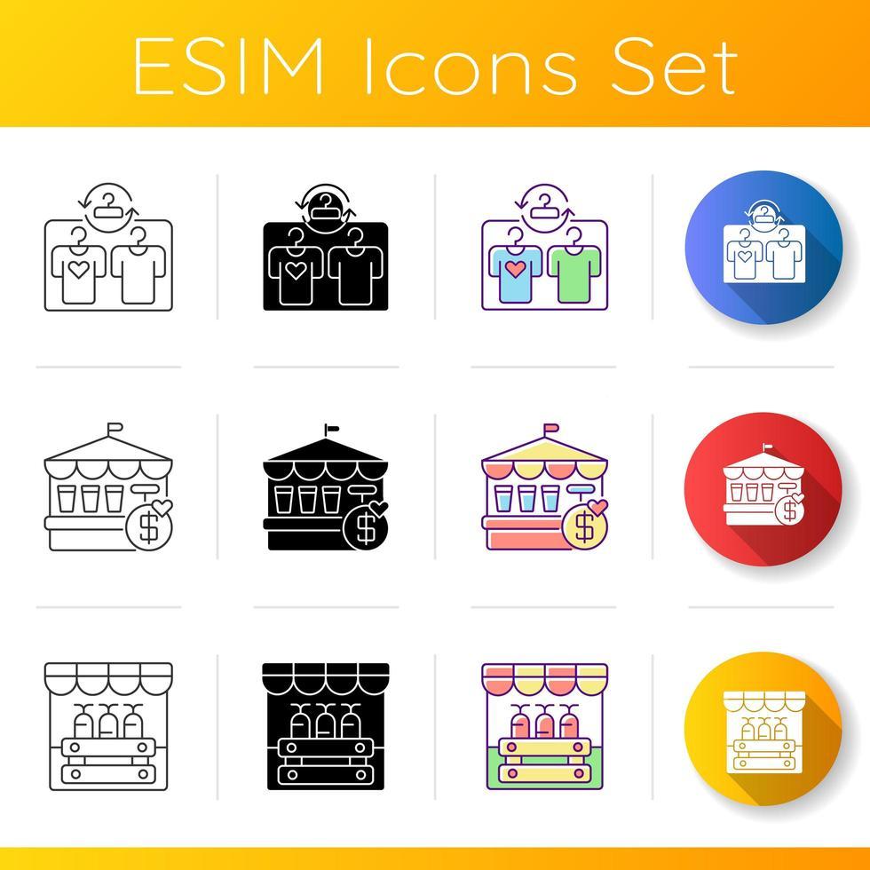 set di icone del mercato delle pulci vettore