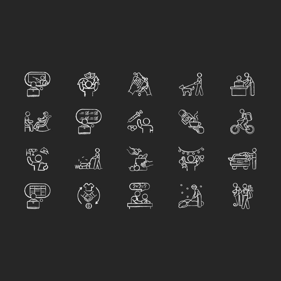 adolescente esperienza lavorativa gesso icone bianche impostate su sfondo nero vettore