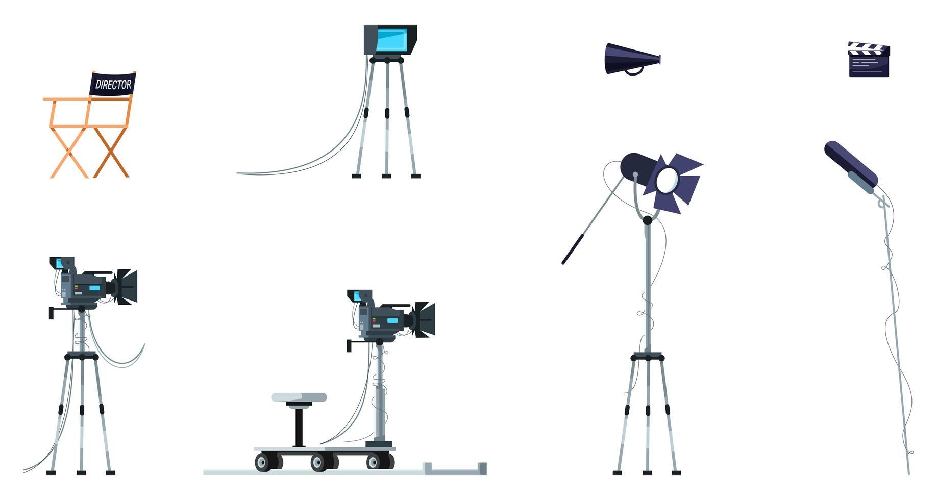 set di illustrazione vettoriale a colori rgb semi piatto attrezzature cinematografiche