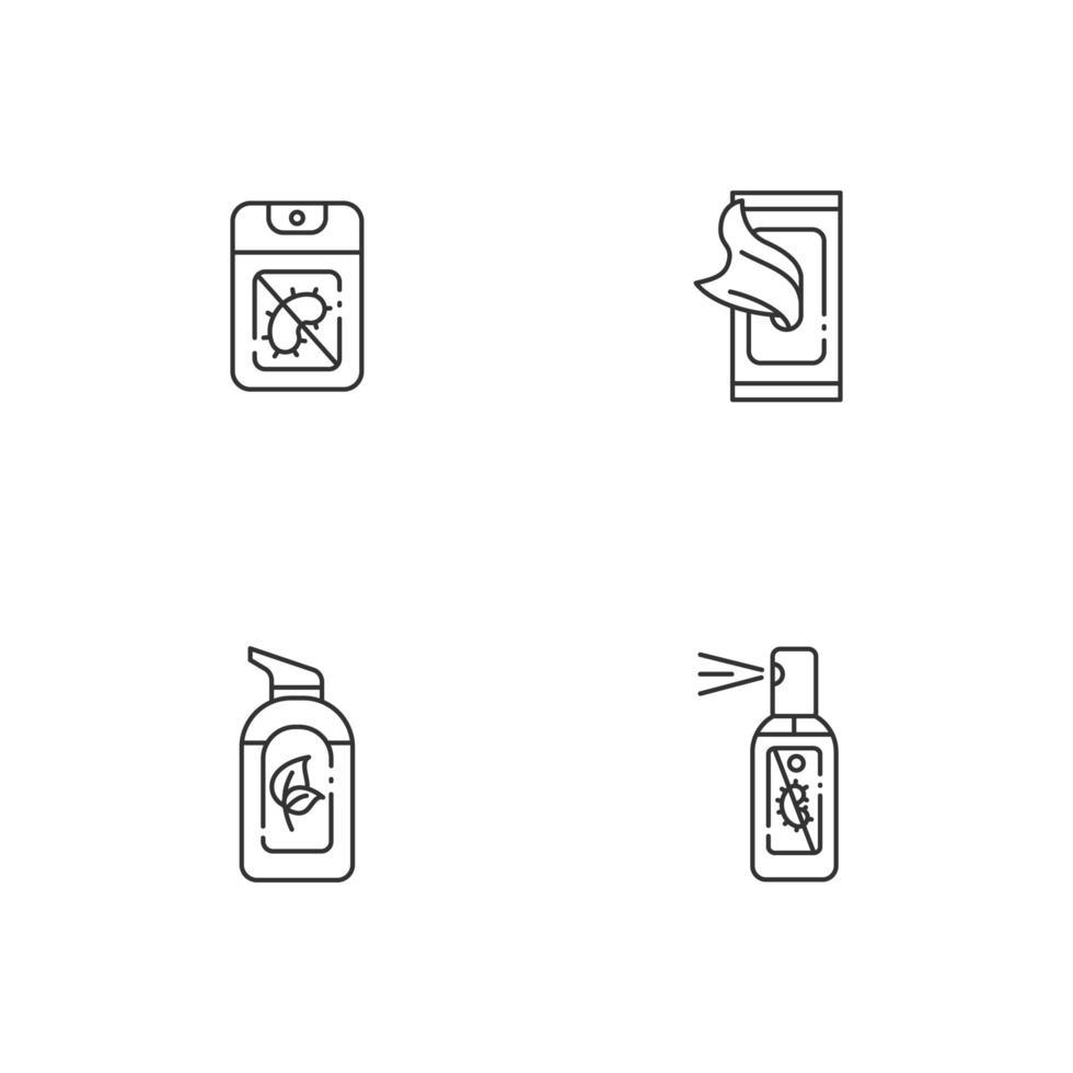 disinfettanti per le mani antibatterici set di icone lineari vettore