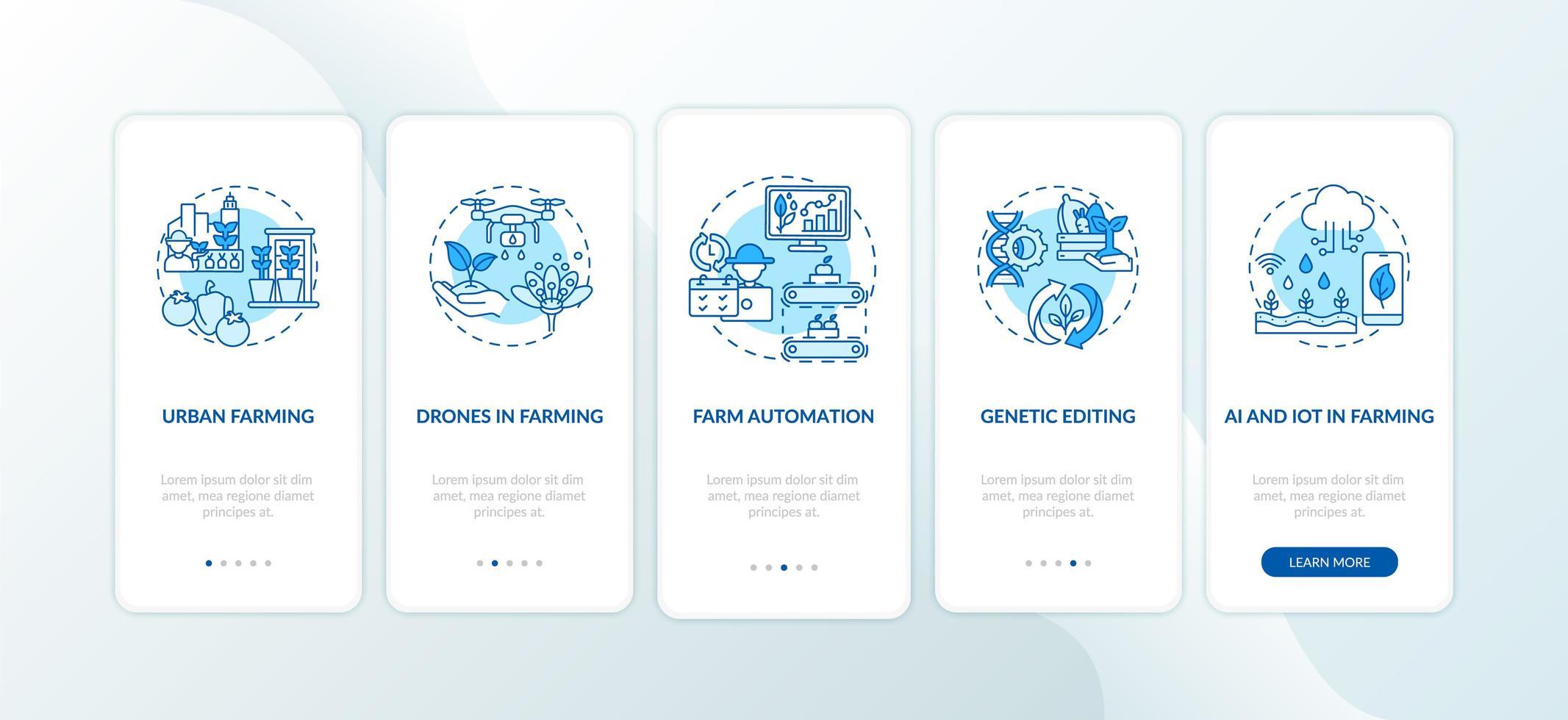 schermata della pagina dell'app mobile per l'innovazione nell'agricoltura con concetti vettore