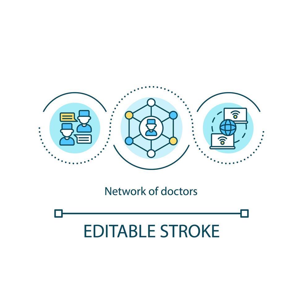 icona di concetto di rete di medici vettore