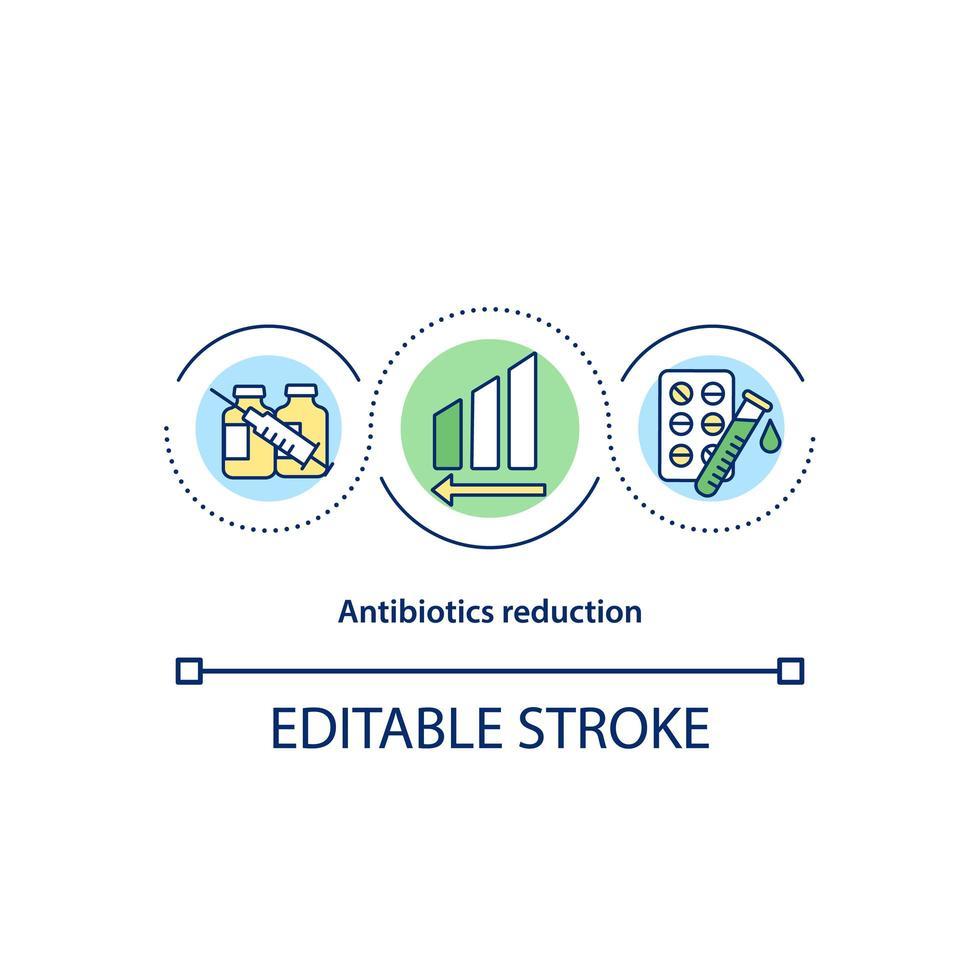 icona del concetto di riduzione di antibiotici vettore