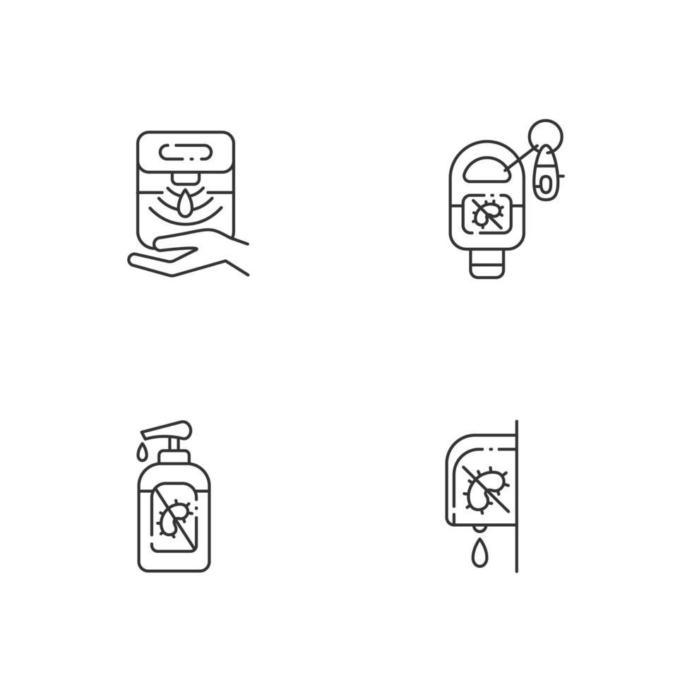 igienizzanti per le mani igieniche lineare set di icone vettore