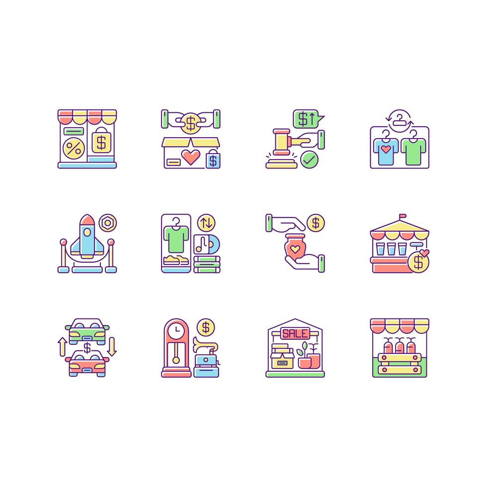 set di icone di colore rgb outlet store vettore
