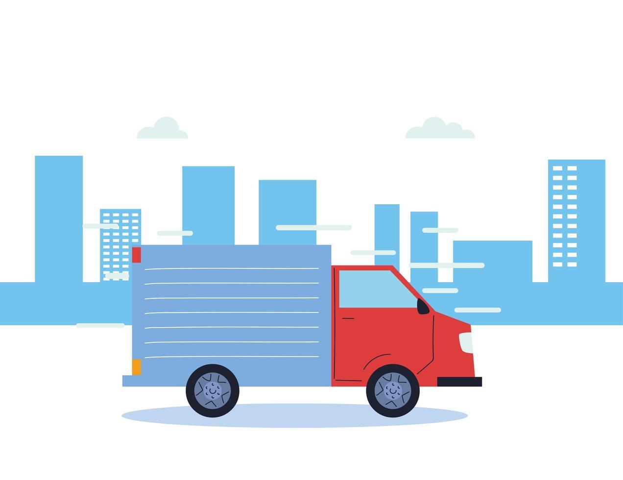 camion di trasporto merci in città vettore