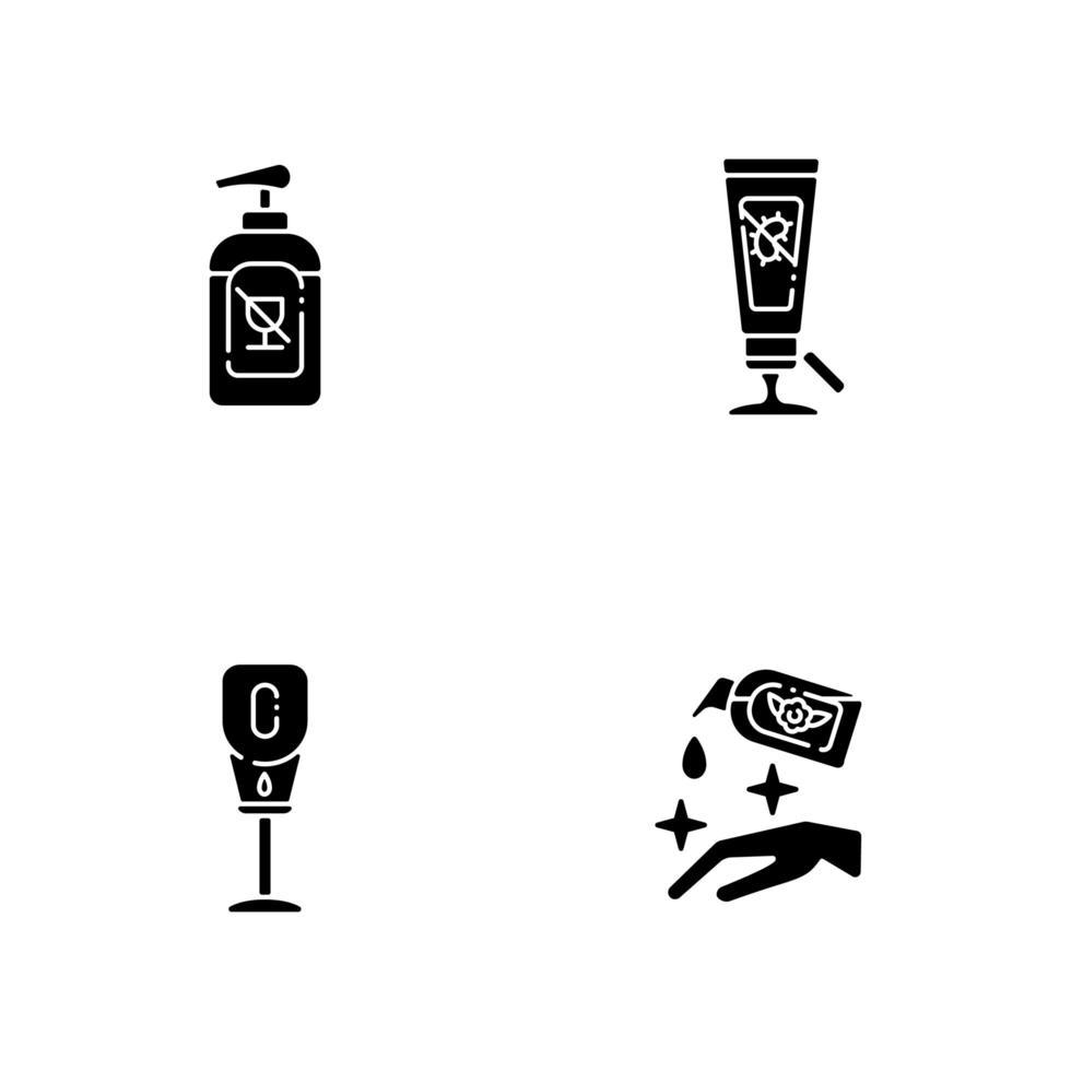 disinfettanti disinfettanti per le mani icone glifo nero impostato su uno spazio bianco vettore