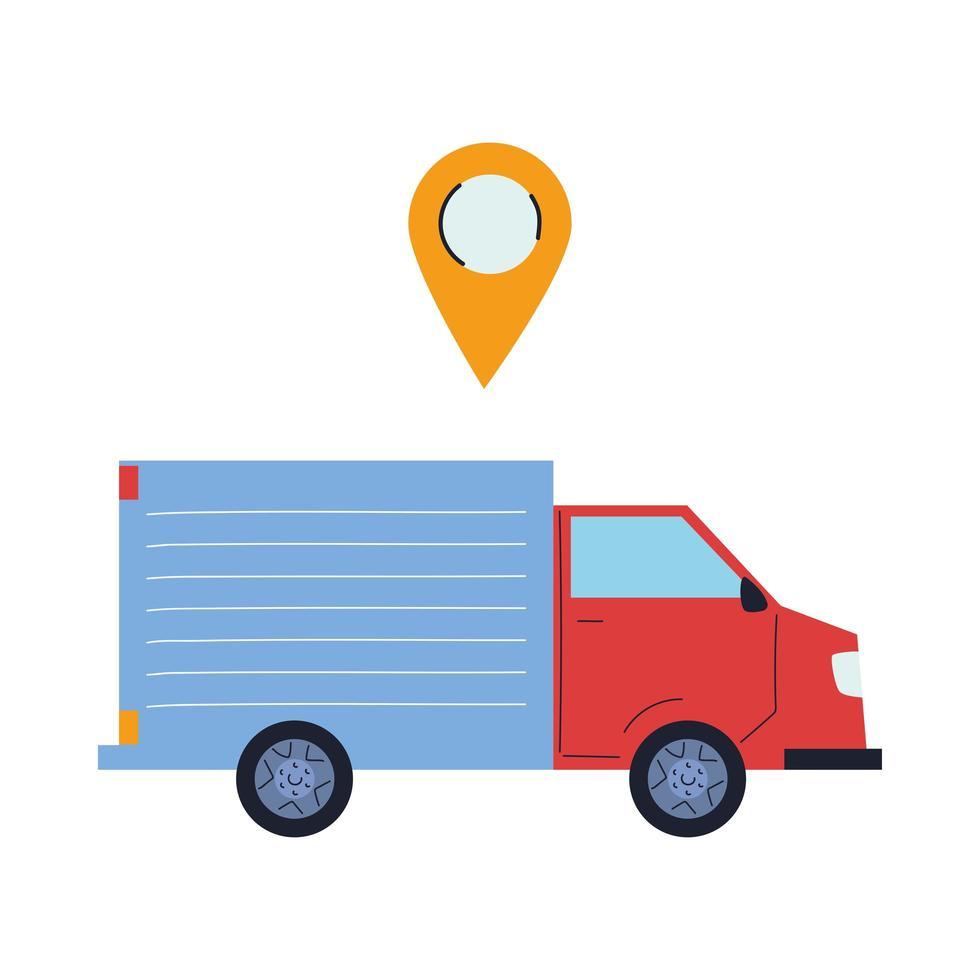 camion del carico con l'icona del perno di posizione vettore