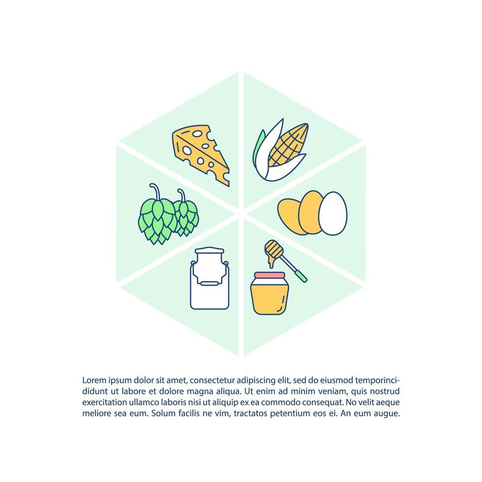 icona di concetto di prodotti agricoli con testo vettore