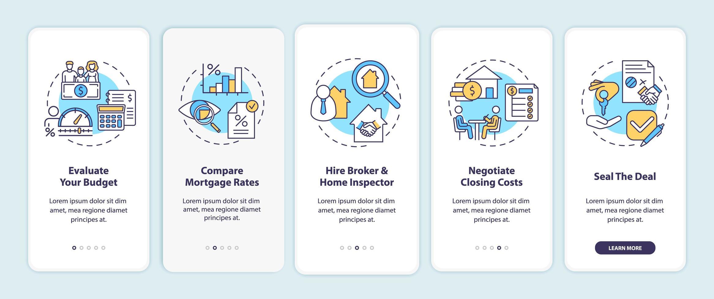 Suggerimenti per l'acquirente di casa per la prima volta sulla schermata della pagina dell'app mobile con concetti vettore