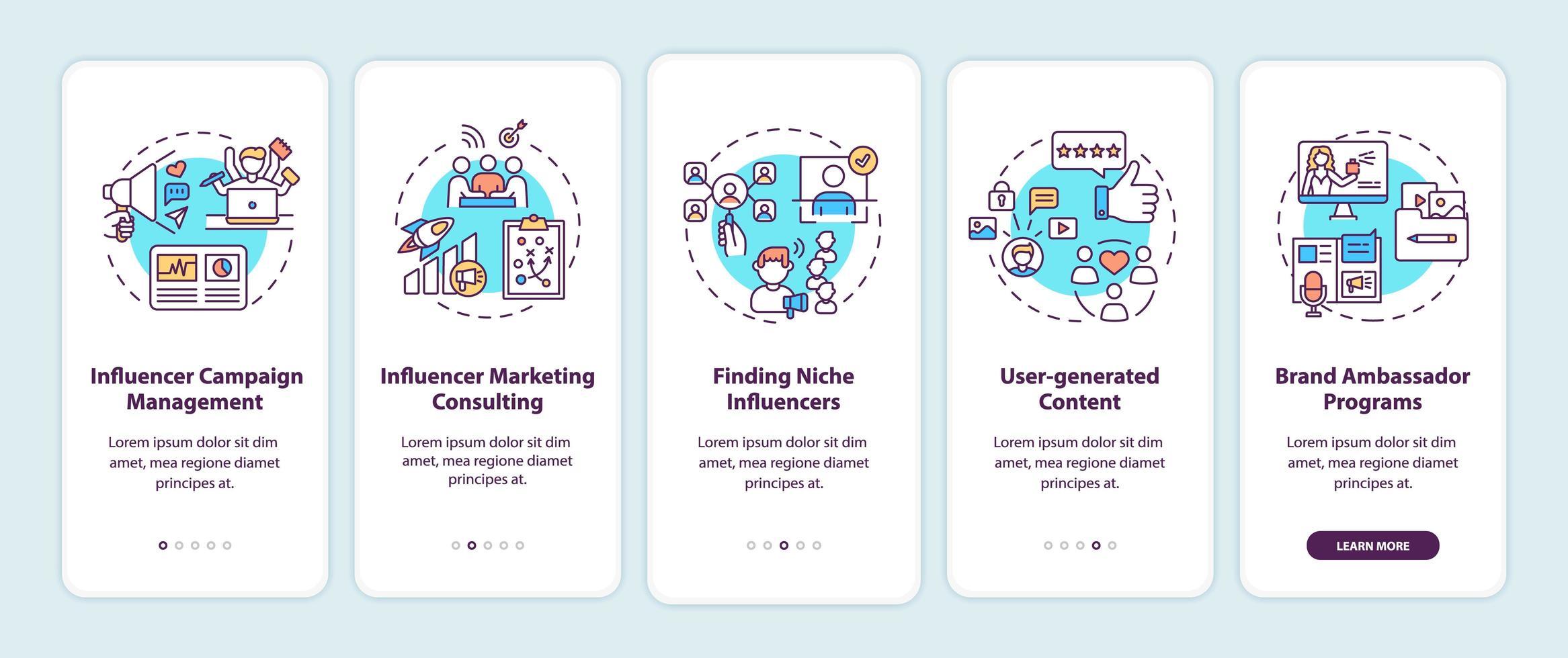 servizi di agenzia di marketing influencer onboarding schermata della pagina dell'app mobile con concetti vettore