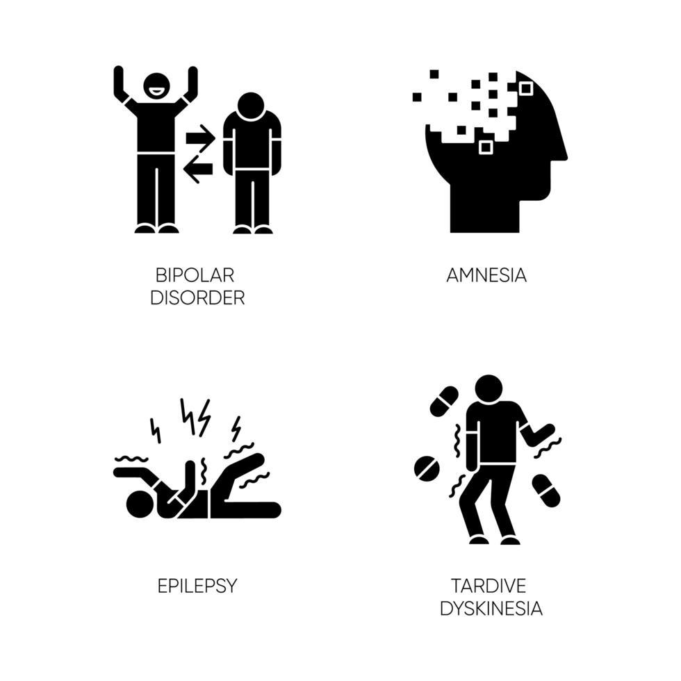 set di icone del glifo disturbo mentale. episodi maniacali e depressivi. disturbo bipolare. amnesia. perdita di memoria. attacco epilettico. discinesia tardiva. simboli di sagoma. illustrazione vettoriale isolato