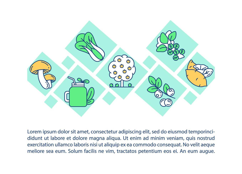 icona di concetto di prodotti biologici con testo vettore