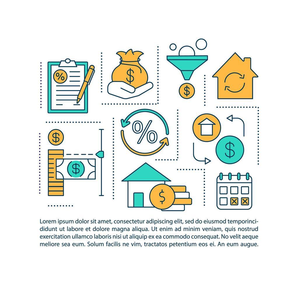 icona del concetto di beneficio di rifinanziamento ipotecario con testo vettore
