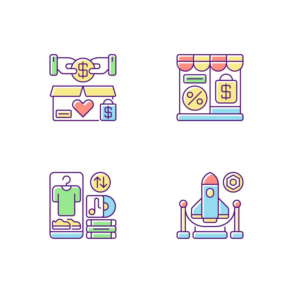 trading rgb set di icone di colore vettore