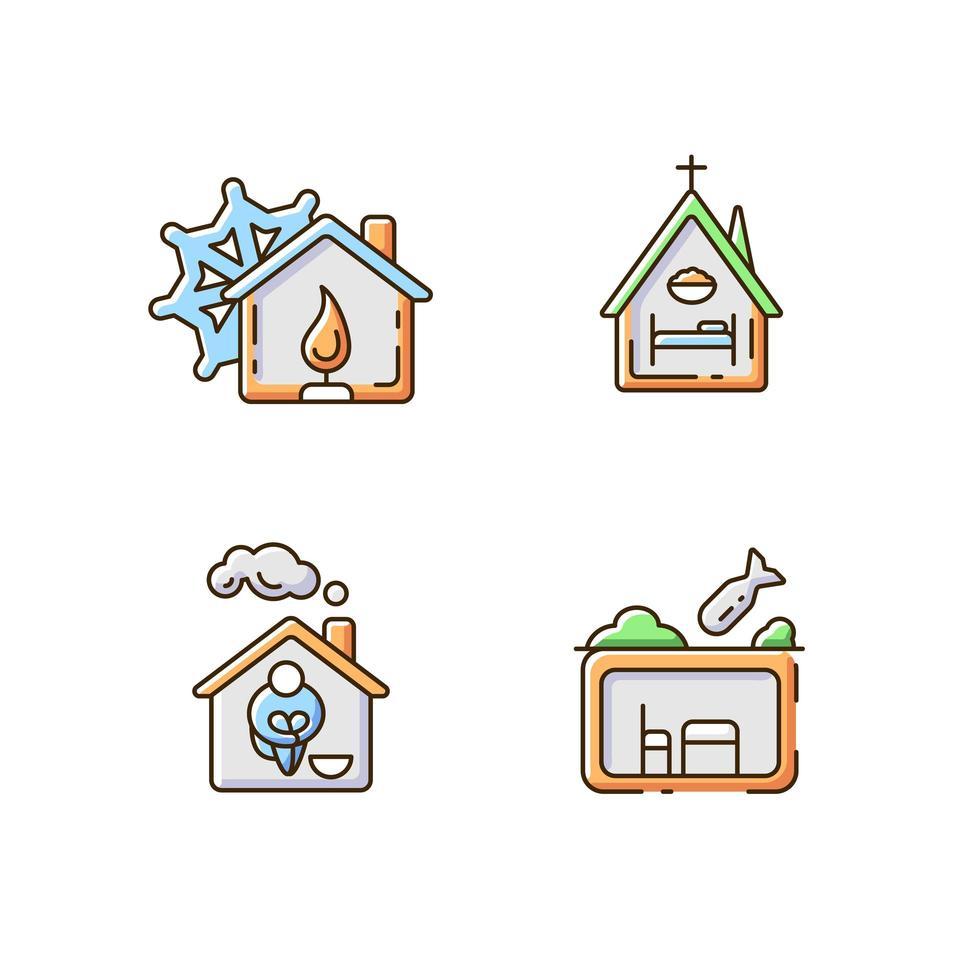 set di icone di colore rgb alloggio di supporto temporaneo vettore