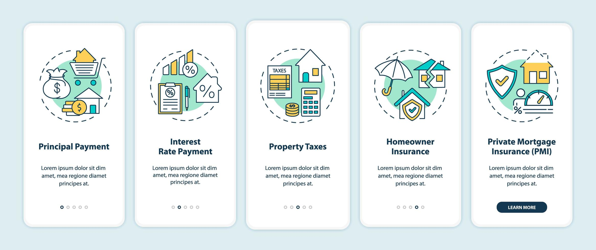 elementi di pagamento ipotecario onboarding schermata della pagina dell'app mobile con concetti vettore