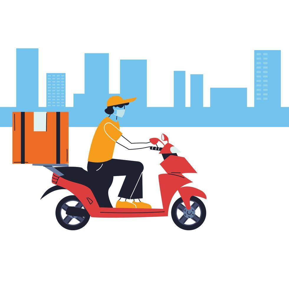 corriere con maschera e mezzo di trasporto per la consegna vettore