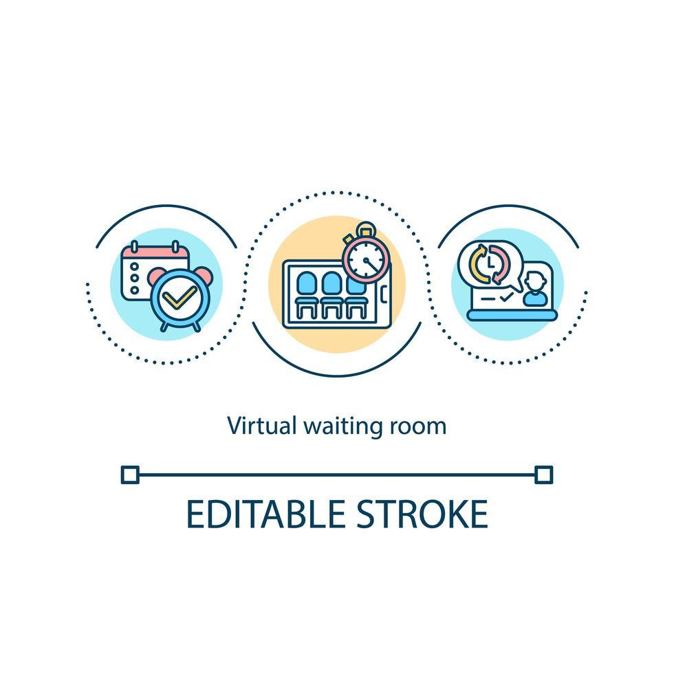 icona del concetto di sala d'attesa virtuale vettore