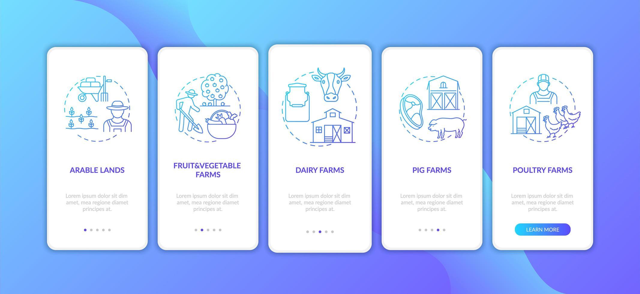 tipi di produzione agricola onboarding schermata della pagina dell'app mobile con concetti vettore