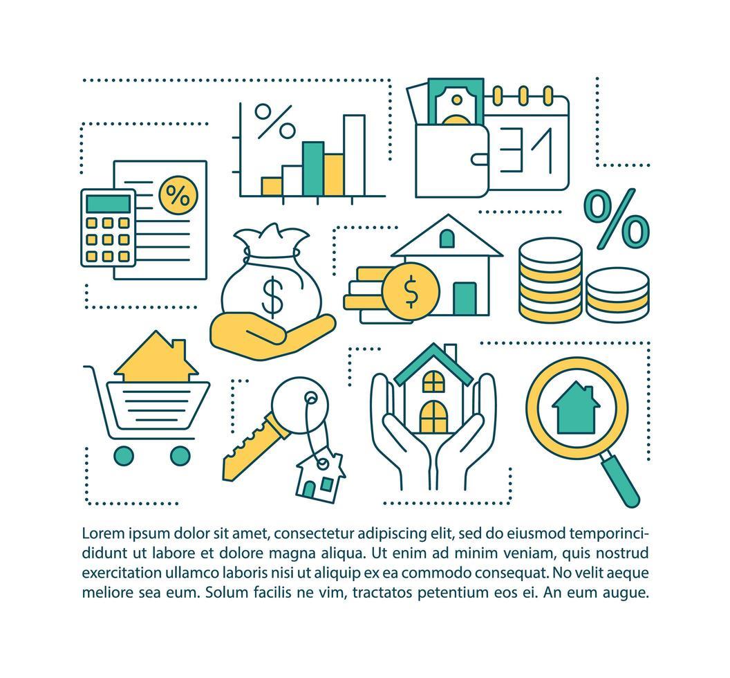 icona di concetto di servizi ipotecari con testo vettore