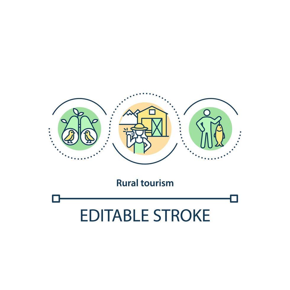 icona del concetto di turismo rurale vettore