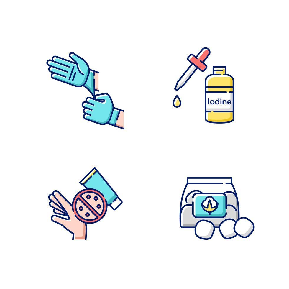 set di icone di colore rgb attrezzature mediche vettore