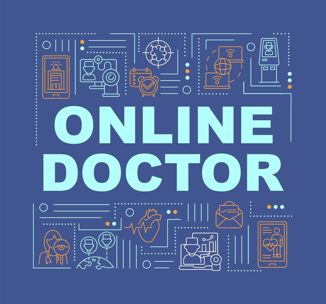 banner di concetti di parola medico online vettore