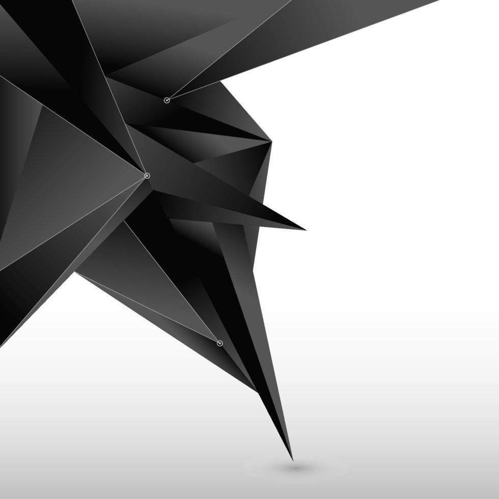 forma astratta poligono nero 3d con linea e nodo su sfondo bianco. vettore