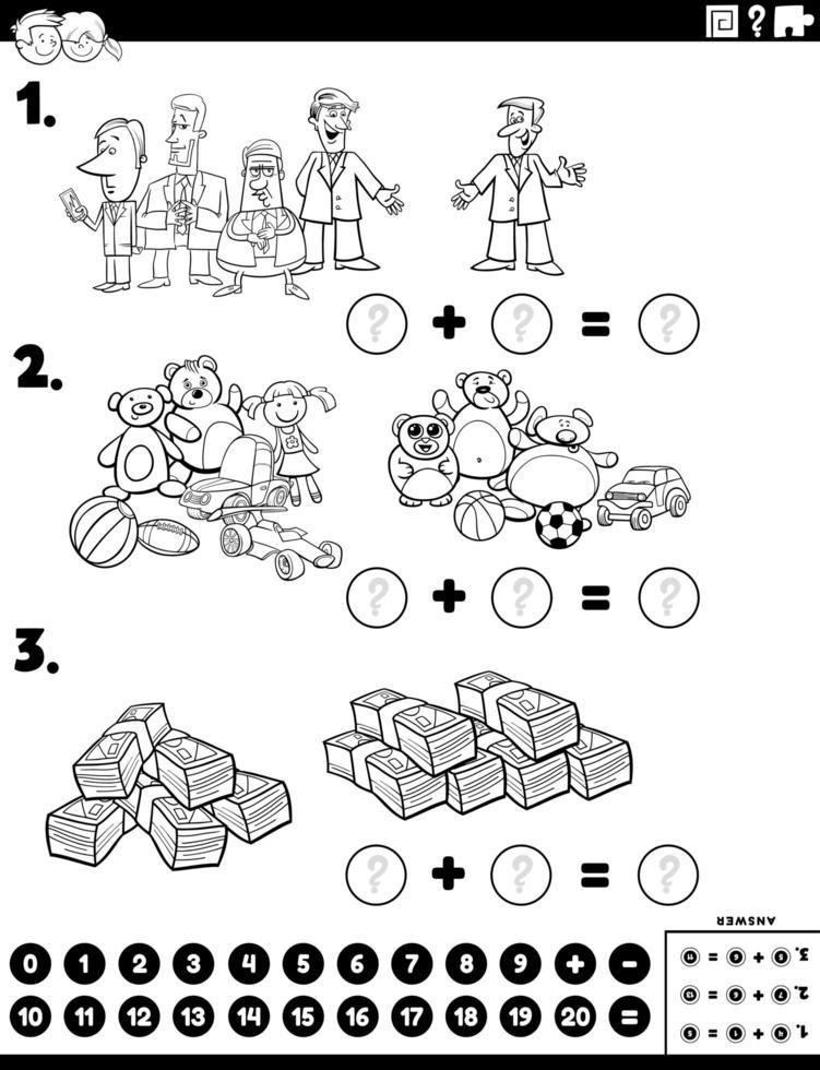 compito educativo aggiunta di matematica con personaggi dei fumetti vettore
