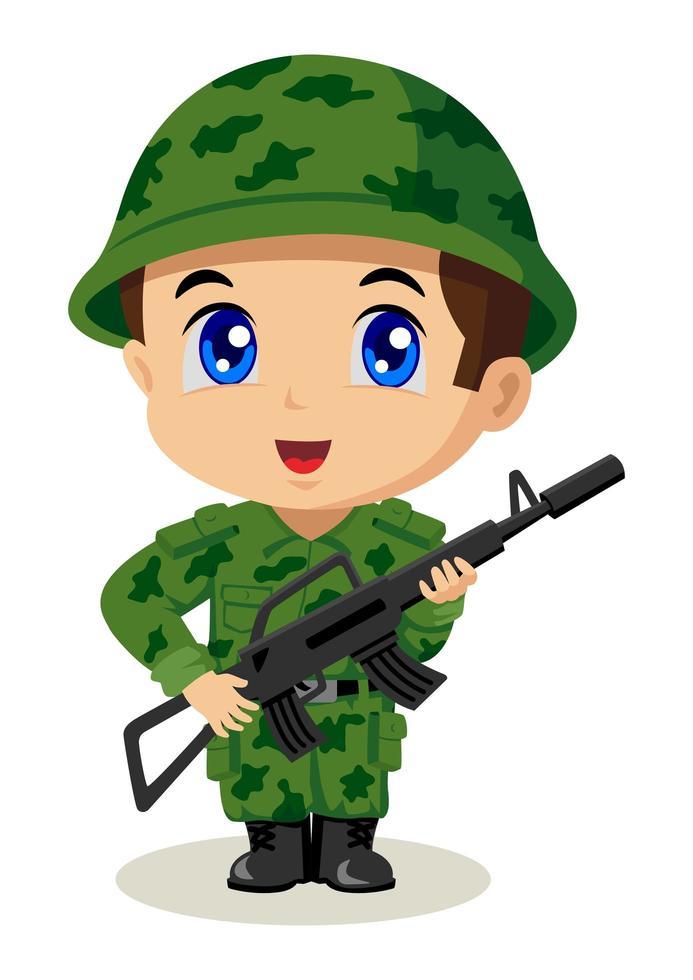 cartone animato piccolo soldato vettore