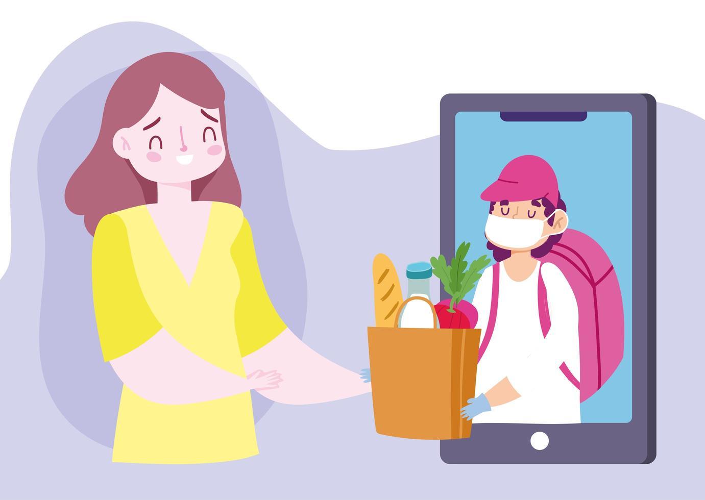 consegna sicura a casa durante il coronavirus covid-19, giovane donna con mercato alimentare online per smartphone vettore