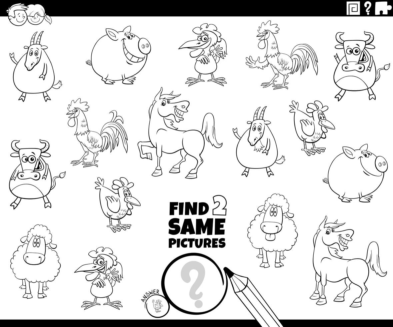 Trova due stessi animali da fattoria pagina del libro da colorare vettore