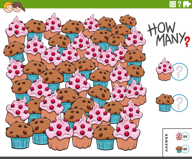 contare muffin e cupcakes compito educativo per i bambini vettore