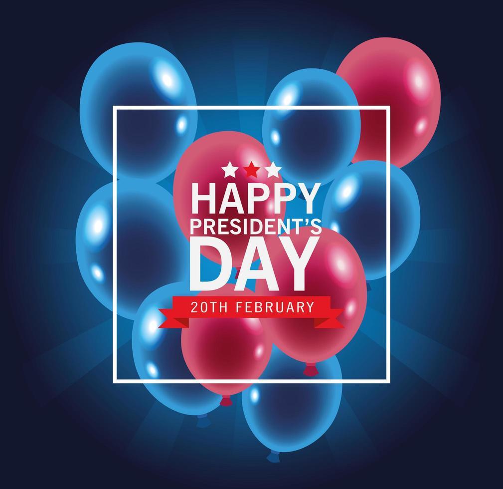 felice giorno dei presidenti poster con palloncini vettore