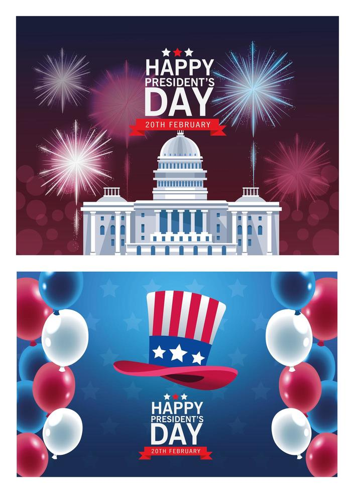 felice poster del giorno dei presidenti con set di scene vettore