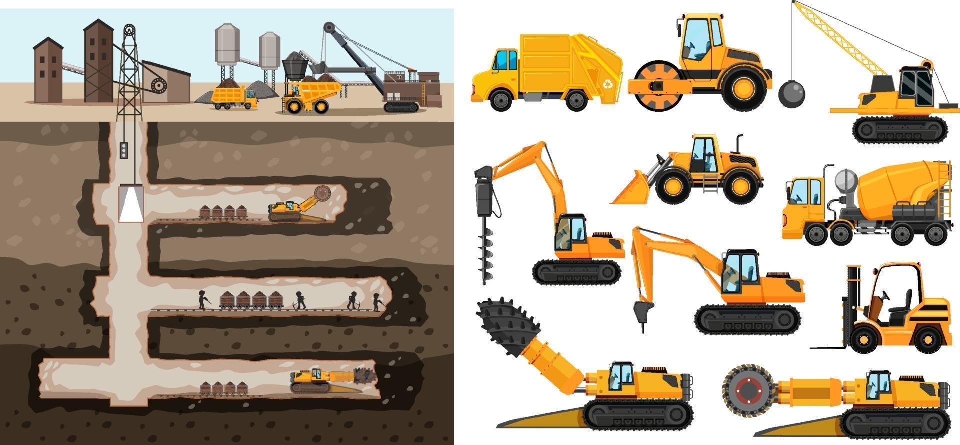 scena di estrazione del carbone con diversi tipi di camion da costruzione vettore