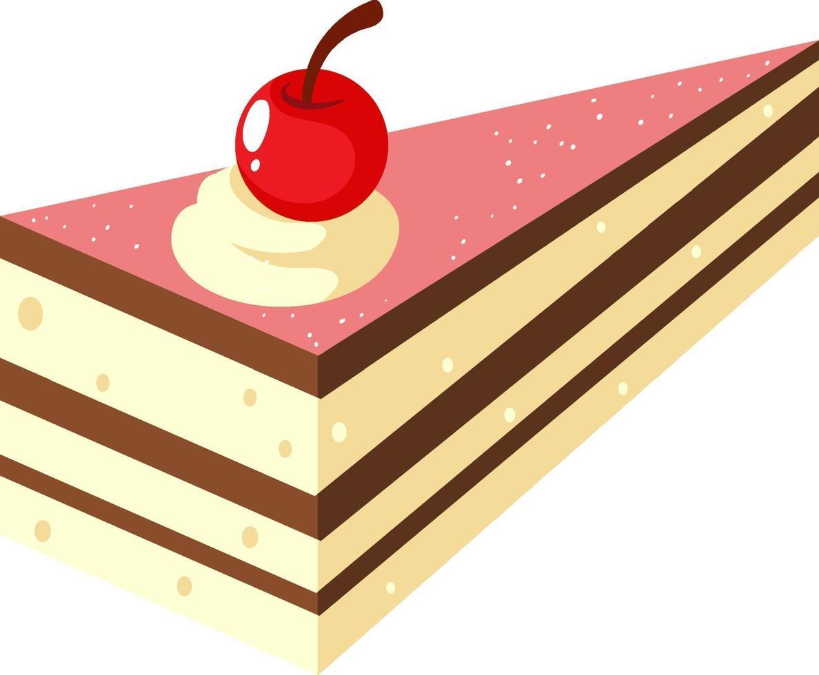 isometrica della torta con ciliegina sulla torta vettore