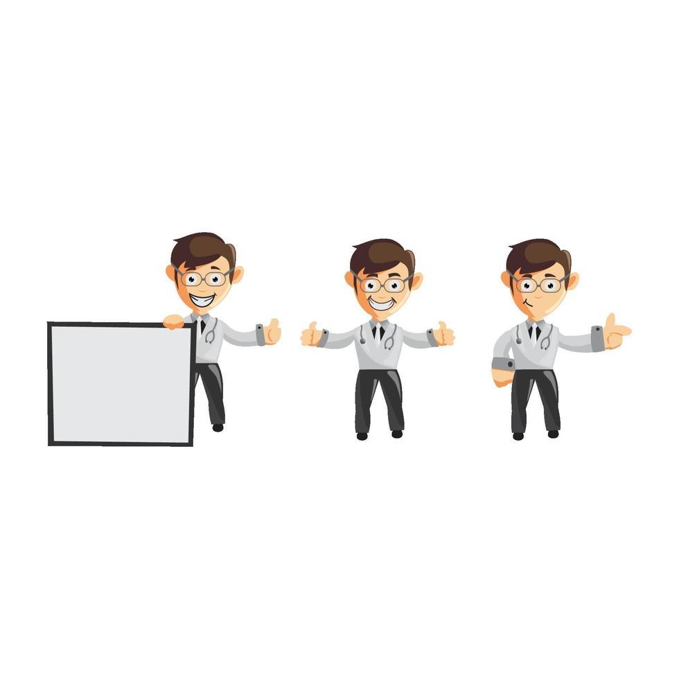 set di medico maschio simpatico cartone animato in varie pose vettore