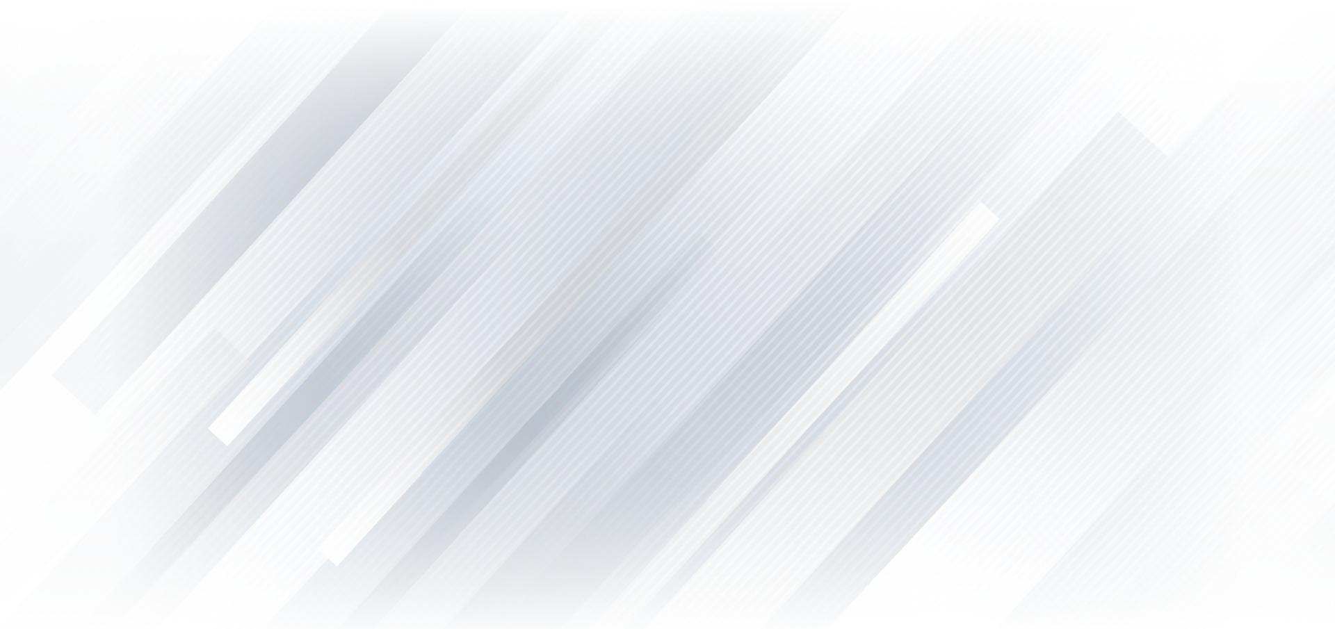 sfondo geometrico astratto linee diagonali bianche e grigie. è possibile utilizzare per la progettazione di brochure modello. poster, banner web, flyer, ecc. vettore