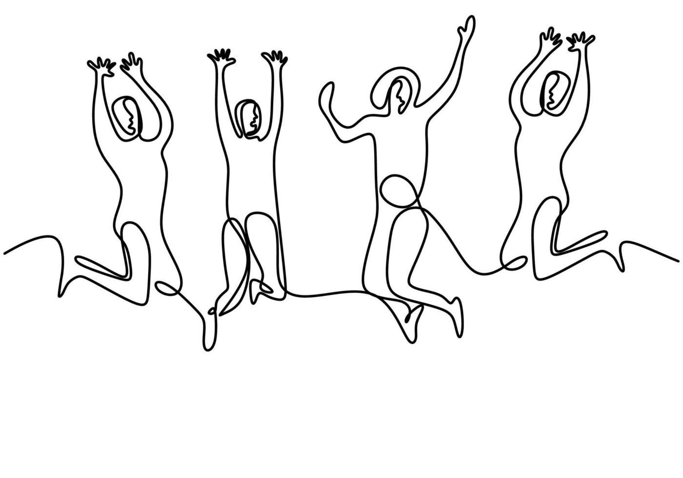 disegno a tratteggio continuo di saltare i membri della squadra felice. quattro giovani saltano insieme per esprimere la loro felicità. gruppo di quattro persone salta e la libertà dal design minimalista. illustrazione vettoriale