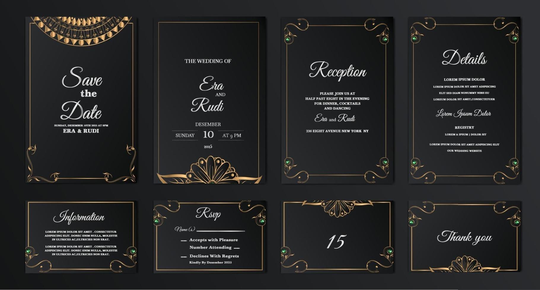set collection luxury salva la data carta di invito a nozze vettore